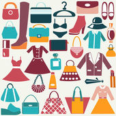 Clothes and accessories vintage icons  — Stock Vector