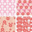 Set floral pattern blossom cherry — Vettoriale Stock