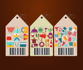 Shopping Icons and Universal tags flat icons shape label — Stock Vector