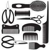 Haircutting tool flat design icons — Stock Vector