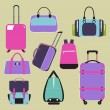 Modern flat icons vector collection with Baggage and travel bag — Stock Vector