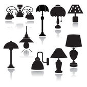 Lamps set icons  - Illustration — Stock Vector