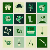Set  icons of Gardening and spring symbols — 图库矢量图片