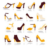 High Heels Women Shoes Set - Illustration 	 — Cтоковый вектор