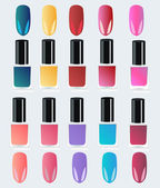 Set of multicolored bottles with nail polish — Stock Vector
