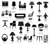 Interior Icons Set  — Stock Vector