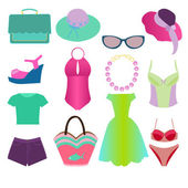 Collection of Summer Clothing fashion style - Illustration — Stock Vector
