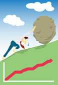 Manager like Sisyphus pushing a boulder uphill — Stock Vector