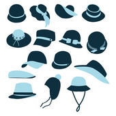 Icon Set vector of Hats Black Silhouette-illustration — Vettoriale Stock