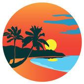 Palm trees, sea and sun on the Baisao beach — Stock Vector