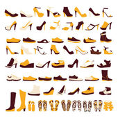 Icon set of men's  and of women's shoes — Stock Vector