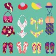 Summer colorful set of flip-flops and swimsuits isolated - Illus — Stock Vector