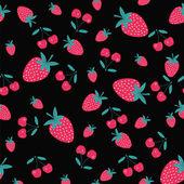 Patrón con una fresa y cereza-ilustración — Vector de stock