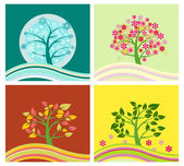 Four Seasons Tree - Illustration — Stock Vector