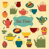 Vintage  Background of Tea Time - Illustration — Stock Vector
