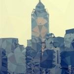 Hong Kong city skyline abstract triangles modern background, vec — Stock Vector #47705875