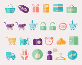 Shopping and Sale vector icons on white background — Stok Vektör