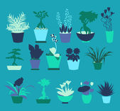 Flat icons set of Plant silhouette collection - Illustration  — Stockvector
