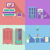 Flat icons set of Set Interior in flat style with long shadow  - — Stockvektor