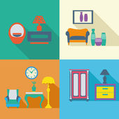 Colorful Interior Icons Set in flat style with long shadow  — Cтоковый вектор