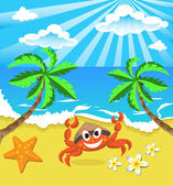 Happy crab in hat with star and flowers, on the southern island  — Stock Vector