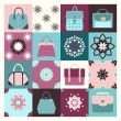 Background icons set of fashion bags - Illustration — Stock Vector