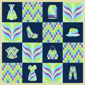 Background Fashion background vector icons set - Illustration — Stock Vector