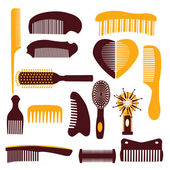 Vector set of combs on a white background — Stock Vector