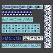 Conjunto de fronteras-ilustración floral transparente — Vector de stock