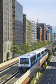 Train runs on Evelated Metro Railway ,Taipei — Stock Photo