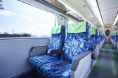 Empty train car inside view of a running train — Stock Photo
