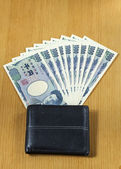 Ten peices of one thousand Japanese cashes wallet close up — Foto Stock