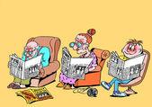 Idillio familiare. caricatura — Foto Stock