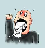 Protect russian language. caricature — Stock Photo