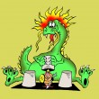 Stock Photo: Caricature. Dragon shell game