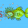 Stock Photo: Caricature. Dollar bait for dragon fish
