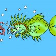 Caricature. Dollar bait for dragon fish — Stock Photo