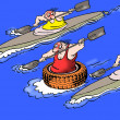 Stock Photo: Caricature. Wheels on water is faster