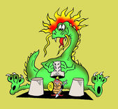Caricature. Dragon shell game — Foto de Stock