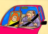 Karikatür. bir kayıp ile sürüş — Stok fotoğraf