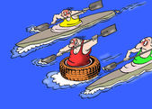 Caricature. Wheels on water is faster — Stock Photo
