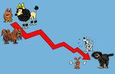 Caricature. Scheme of regression — Stock Photo