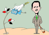 Caricature. Cunning Bashar - al - Assad — Stock Photo