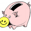 Stock Photo: Caricature. Smiling piggybank