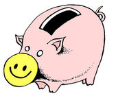 Caricature. Smiling piggybank — Photo