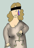 Caricature. Sad russian justice — Stock Photo