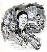Caricature. Rambo — Stock Photo