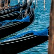 Vertical view of Venetian gondolas — Stock Photo