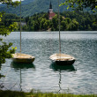 Boats on Lake Bled, Slovenia. — Stockfoto