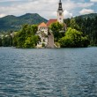 Vertical view of church of Bled Lake, Slovenia. — Stock Photo